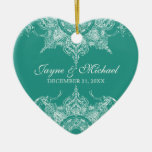 Toile Damask Swirl First Christmas Teal Green Ceramic Ornament