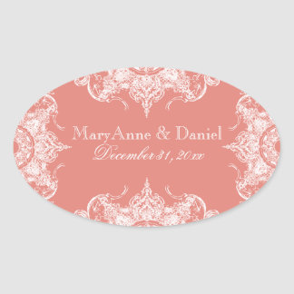 Toile Damask Swirl Matching Sticker Coral Pink