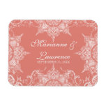 Toile Damask Swirl Save the Date Coral Pink Magnet