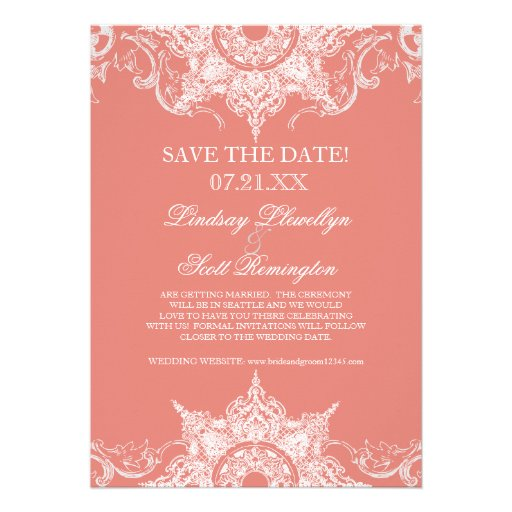 Toile Damask Swirl Save the Dates Coral PInk Announcement