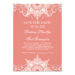 "Toile Damask Swirl Save the Dates Coral PInk 5"" X 7"" Invitation Card"