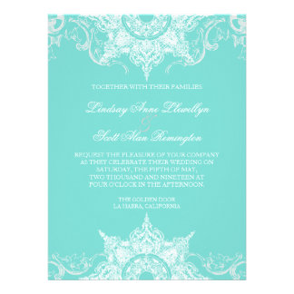 Toile Damask Swirl Wedding Invite Aqua Blue