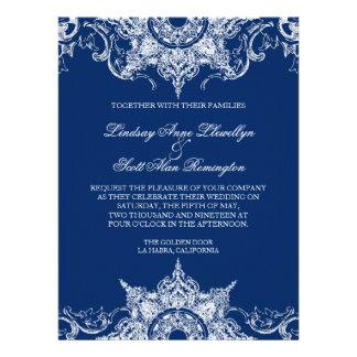 Toile Damask Swirl Wedding Invite Navy Blue
