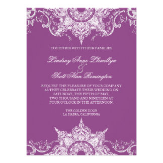 Toile Damask Swirl Wedding Invite Plum