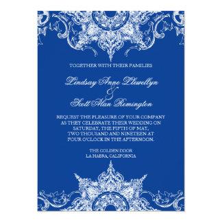 Toile Damask Swirl Wedding Invite Royal Blue