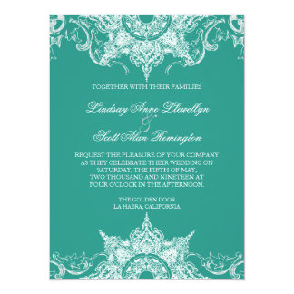 Toile Damask Swirl Wedding Invite Teal Green