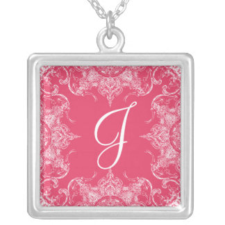 Toile Damask Swirl Wedding Monogram Hot Pink Silver Plated Necklace