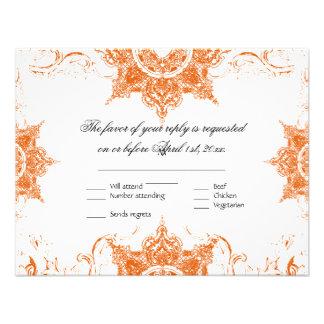 Toile Damask Swirl Wedding RSVP Card Tangerine Announcement