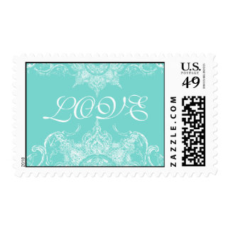 Toile Damask Swirl Wedding Stamps Aqua Blue