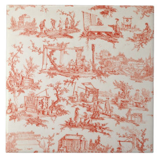 Toile de Jouy, illustrating the processes of manuf Large Square Tile
