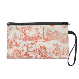 Toile de Jouy, illustrating the processes of manuf Wristlet Purse