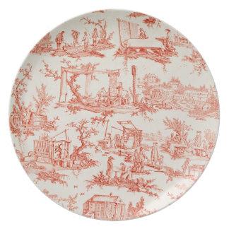 Toile de Jouy, ilustrando los procesos del manuf Platos De Comidas
