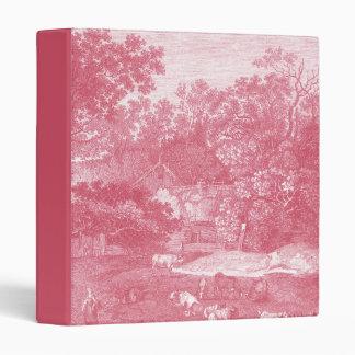 Toile de Jouy Shabby Pink Pastoral Landscape 3 Ring Binder