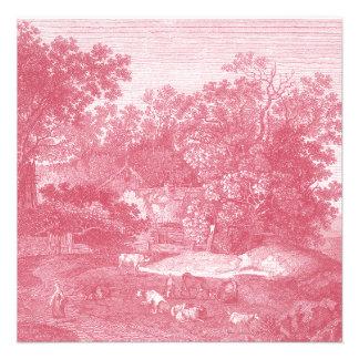 Toile de Jouy Shabby Pink Pastoral Landscape Personalized Announcement