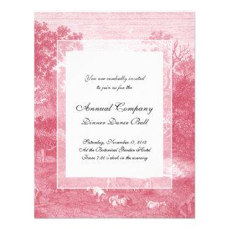 Toile de Jouy Shabby Pink Pastoral Landscape Custom Announcement