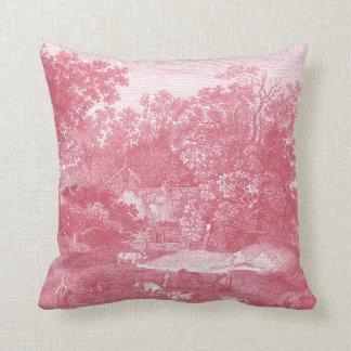 Toile de Jouy Shabby Pink Pastoral Landscape Pillows