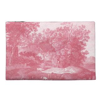 Toile de Jouy Shabby Pink Pastoral Landscape Travel Accessories Bag