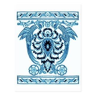Toile de Jouy, The Parrots block print in BLUE Postcard
