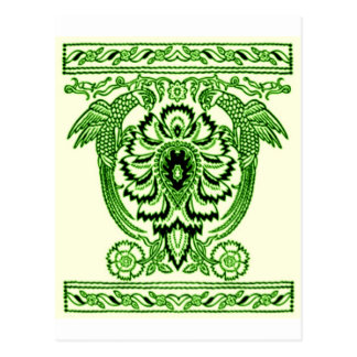 Toile de Jouy, The Parrots block print in Green Postcard