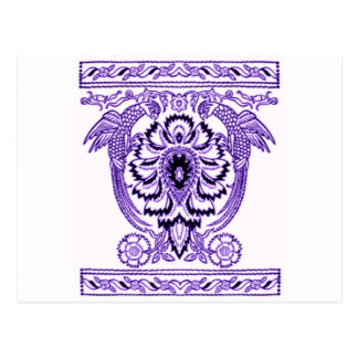 Toile de Jouy, The Parrots block print in Purple Postcard