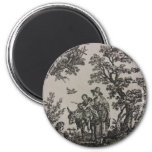 Toile -- Donkey with Woman & Kid 2 Inch Round Magnet