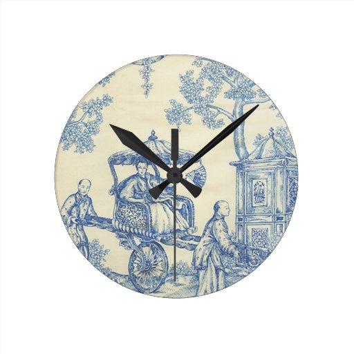 Toile en azul y blanco reloj redondo mediano