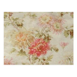 Toile floral francés antiguo tarjeta postal