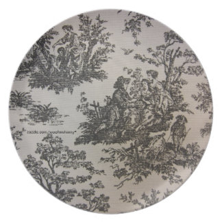 Toile in Black & White Party Plates