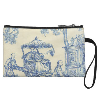 Toile in Blue -- Chinese Garden Wristlet Wallet