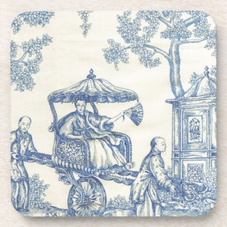 Toile in Blue & White Beverage Coaster
