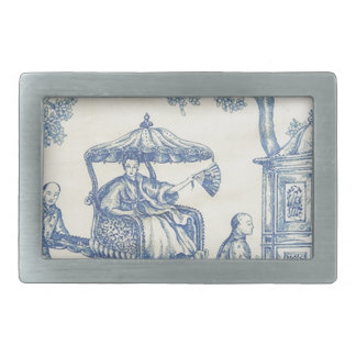 Toile in Blue & White Rectangular Belt Buckle