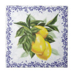 "Toile Lemons Ceramic Tile<br><div class=""desc"">This lovely European style ceramic tile features luscious lemons surrounded by a toile border!</div>"