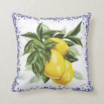 Toile Lemons Throw Pillow