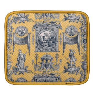 Toile neoclásico francés azul y amarillo funda para iPads