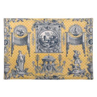 Toile neoclásico francés azul y amarillo Placemat Mantel