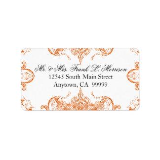 Toile Orange n White Damask Swirl Wedding Labels