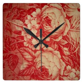 Toile rojo antiguo reloj cuadrado