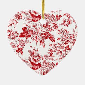 Toile Roses Ceramic Ornament