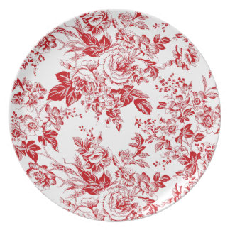 Toile Roses Plate