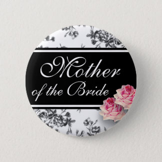 Toile Roses Wedding Party Button