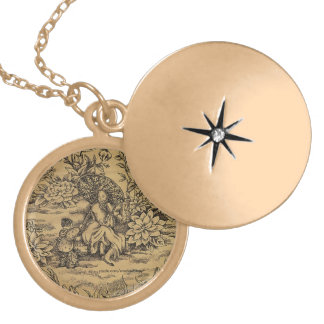 Toile -- Taupe Chinese Garden Scene Gold Plated Necklace