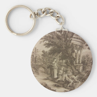 Toile: Wash Day at the River Keychain
