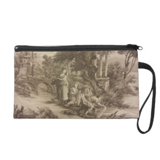 Toile - Wash Day at the River Wristlet Purse