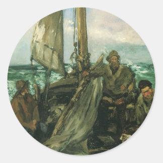 Toilers del mar por Manet, impresionismo del Pegatina Redonda