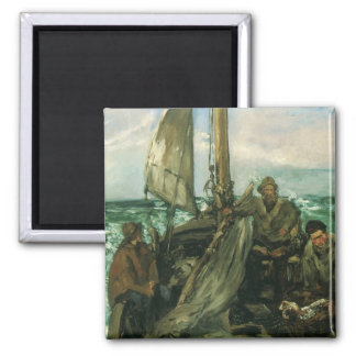 Toilers of the Sea by Manet, Vintage Impressionism 2 Inch Square Magnet
