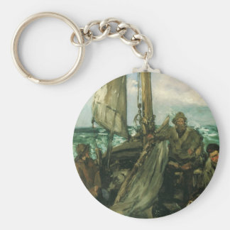 Toilers of the Sea by Manet, Vintage Impressionism Basic Round Button Keychain