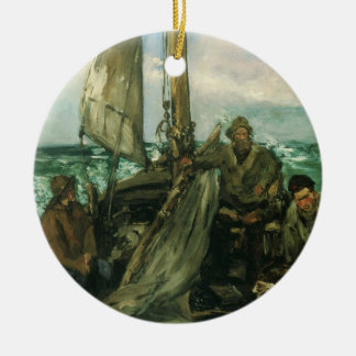 Toilers of the Sea by Manet, Vintage Impressionism Ceramic Ornament