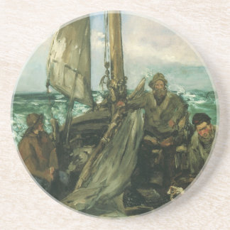 Toilers of the Sea by Manet, Vintage Impressionism Drink Coaster