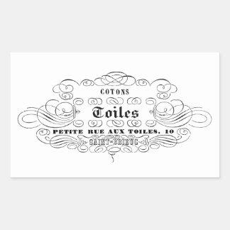 toiles franceses del algodón de la tipografía del pegatina rectangular