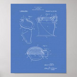 Toilet Bowl 1918 Patent Art Blueprint Poster